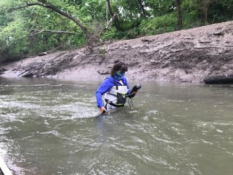 Researcher at Wakarusa River 20 May 2020, upper site.