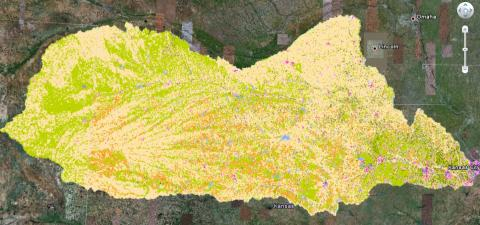 Image taken from the land cover map of the Kansas River Watershed created for the Ecological Forecasting project. Dataset is displayed in Google Earth, see the project page for more details.