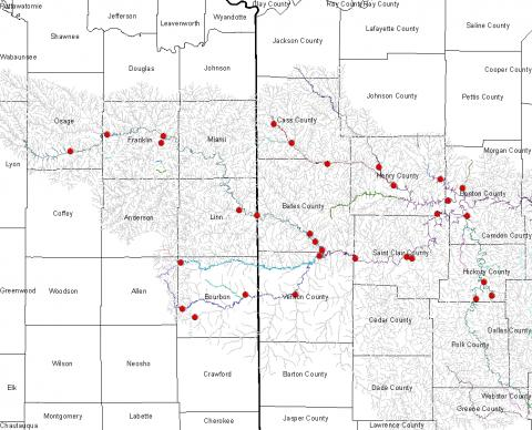 <p>Potential sampling sites in the Truman Reservoir watershed from which water will be collected for detection of Asian carp DNA.</p>