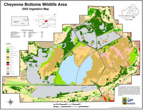 Cheyenne Bottoms is one of the largest wetlands in the central United States (19,857 acres) and is a wetland of international importance. Nearly half of the migrating waterfowl and wading birds stop here as they migrate between Canada and Mexico. Having current imagery and vegetation maps help refuge managers monitor the conditions of critical habitats and food sources as well as track the spread of invasive species like cattail and phragmites.